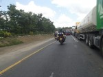 On the way to Dar, traffic on right waiting for weighbridge.