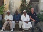 Clive with companions in Stone Town, Zanzibar