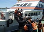My bike being manhandled aboard Zanzibar ferry, Tanzania