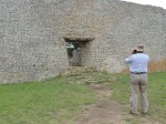 "Clive, the mortarless enclosure wall and ""spot the monkey in the photo"", Great Zimbabwe, Zimbabwe"