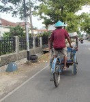 Plenty of bicycle rickshaws in Java once we had left Jakarta