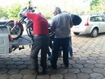 Clive's bike heads off to a mechanic.