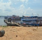 Boats on Rio Negra at the port of Manaus