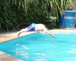 Clive demonstrating the perfect dive...it was!