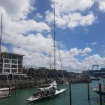 An couple of America's cup yachts.
