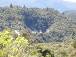 The first sign of frying pan lake in the Waimangu volcanic valley.