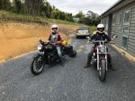 Back on two wheels courtesy of Julian. Triumph Bonneville and Honda Silver Shadow